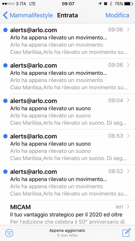 Notifiche ricevute dal sistema di sicurezza Arlo via mail